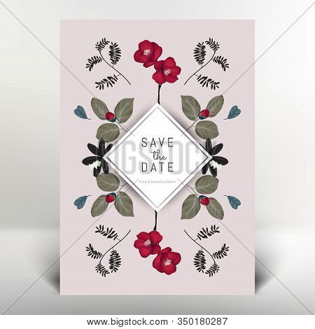Botanical Greeting/invitation Card Template Design, Camellia Flowers And Leaves, Vintage Style