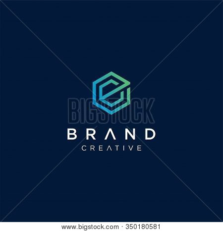 Abstract Hexagon Letter E C Logo Design Vector Logotype . Line Hexagon Creative Simple Logo Design T