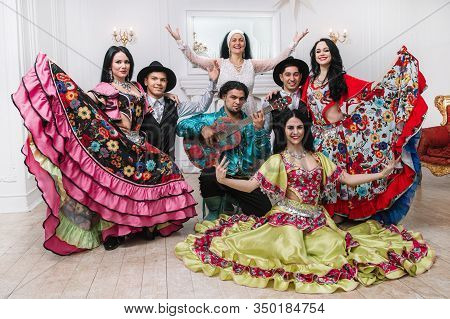Portrait Of A Gypsy Song Group In National Costumes