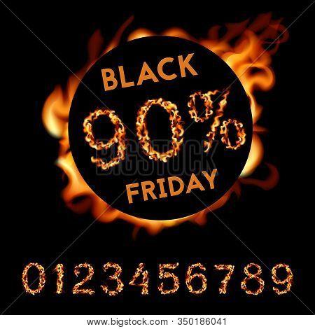 90 Percent Off Black Friday. Fire Design On Black Background. Vector Illustration