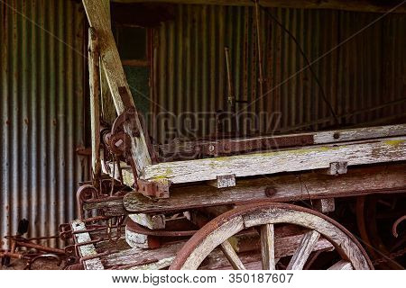 An Old Wooden Horse Drawn Wagon Used For Agriculture By Early Australian Settlers Many Years Ago
