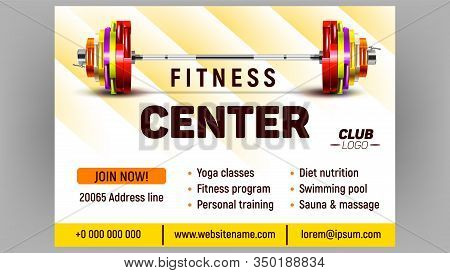 Fitness Center Sportive Advertising Banner Vector. Rubber Barbell Lifting Collapsible With Iron Weig