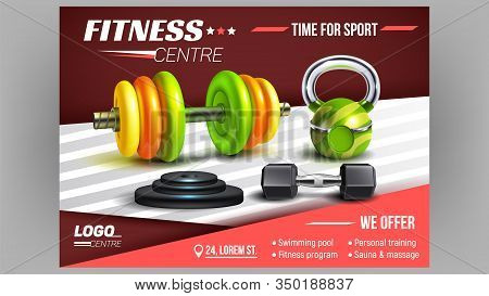 Fitness Centre Sport Advertising Poster Vector. Dumbbell, Barbells And Metal Discs Fitness Lifting S