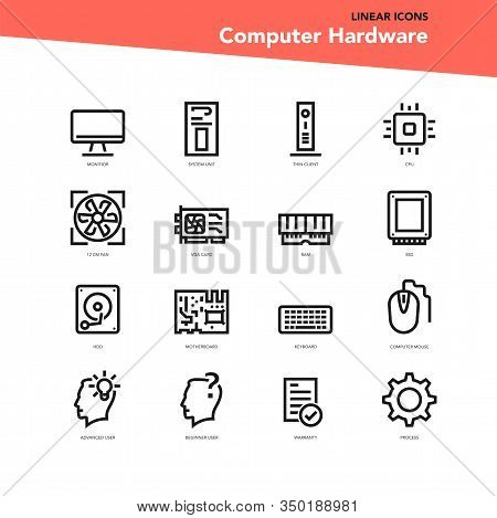 Vector Set Of Linear Icons - Computer Specifications
