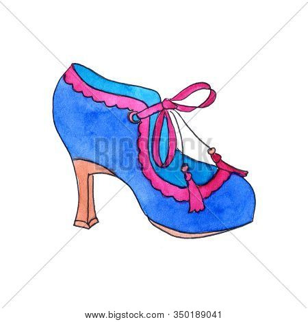 Retro Shoe Shoe: Blue Velvet With Pink Frills And Tassels With Tassels On Low Heels With A Glass - H