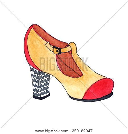 Retro-style Shoe Slipper: Beige Velor With A Red Nose And A Black And White Steady Heel - Hand-drawn