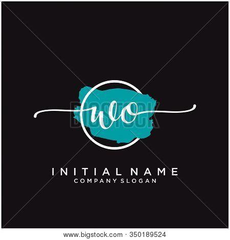 Wo Initial Handwriting Logo Design With Brush Circle. Logo For Fashion,photography, Wedding, Beauty,