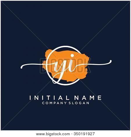 Yi Initial Handwriting Logo Design With Brush Circle. Logo For Fashion,photography, Wedding, Beauty,