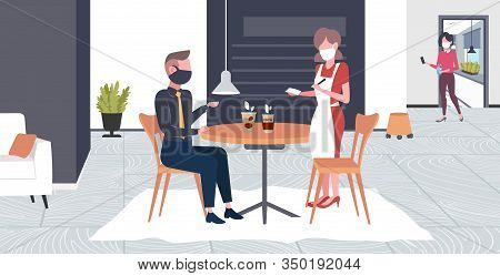 Waitress Taking Order From Client In Mask To Prevent Epidemic Mers-cov Wuhan 2019-ncov Pandemic Heal