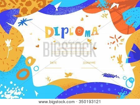 Modern Colorful Diploma Template For Kids. Vector Illustration Template Certificate Background With
