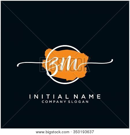 Zm Initial Handwriting Logo Design With Brush Circle. Logo For Fashion,photography, Wedding, Beauty,