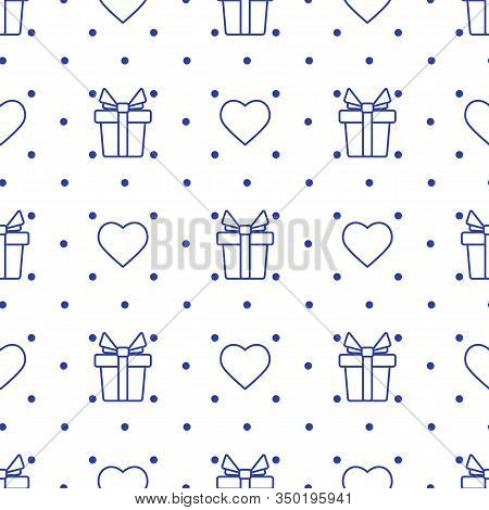 Vector Seamless Pattern Valentine's Day Gift Heart