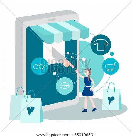 Online Shopping Concept With Character. Mobile E-commerce Store With Flat People Buying Products Wit