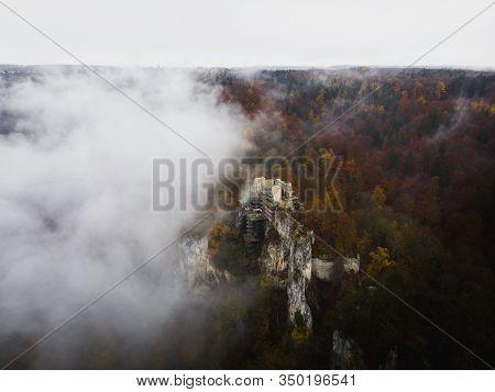 Rusenschloss Ruins Towering Above Blau River Near Blaubeuren In Baden-wuerttemberg, Germany