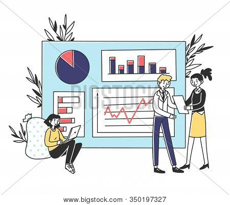 Analysts Developing Marketing Strategy.vector Illustration. Employees Analyzing Statistics. Office W