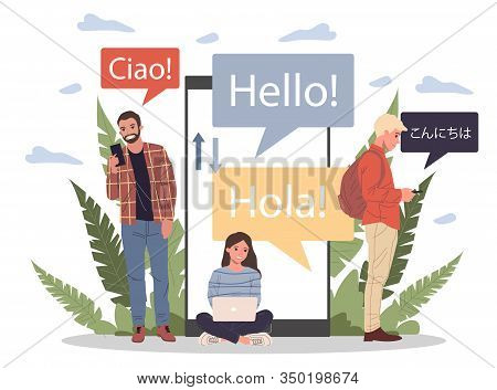 Online Multi Language Translator Flat Vector Illustration. Smartphone With Translation App. People L