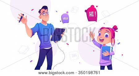 Man Illustrator Hold Tablet And Pen And Cheerful Little Girl With Book Waving Hands In Greeting Gest