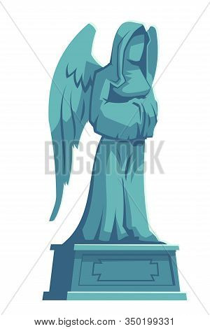 Angel Stone Figure, Cemetery Marble Tombstone Memorial, Catholic Graveyard, Ossuary Or Crypt Rip Sym