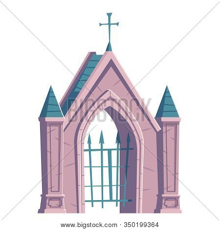Cemetery Gate With Metal Grid And Cross On Top, Catholic Gothic Cathedral Build Architecture. Europe
