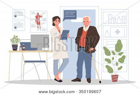 Senior Patient Visiting Doctor Office. Old Man With Cane Consulting Physician. Vector Illustration F
