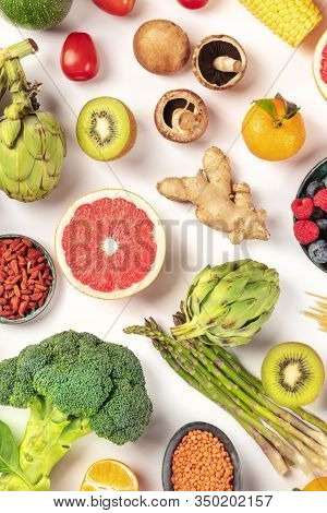 Vegan Food, Healthy Diet Overhead Flat Lay Shot. Fruits, Vegetables, Legumes, Mushrooms, Shot From A