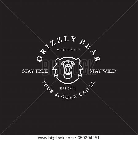 Grizzly Bear Logo Line Vintage . Linear Style Sign For Mobile Concept And Web Design. Grizzly Bear O