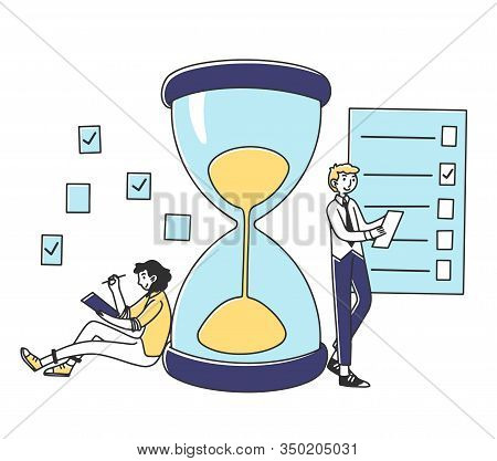 Professionals Planning Project Tasks. Man And Woman Filling Check List At Hour Glass. Vector Illustr
