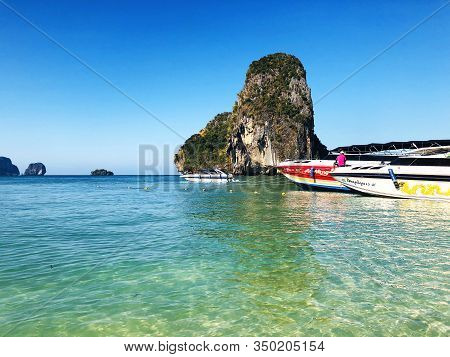 Aonang, Krabi / Thailand - February 11, 2019: Aonang Beach, The Beautiful And Famous Place In Thaila