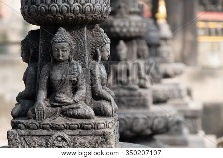 Kathmandu Nepal Buddha And Buddhism God Statue Decoration At Swayambhunath Temple
