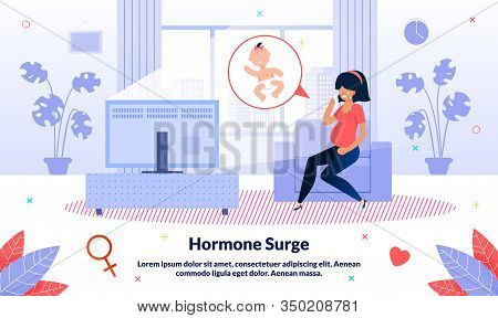 Hormone Surge During Pregnancy Trendy Flat Vector Banner, Poster Template. Pregnant Woman Crying Alo
