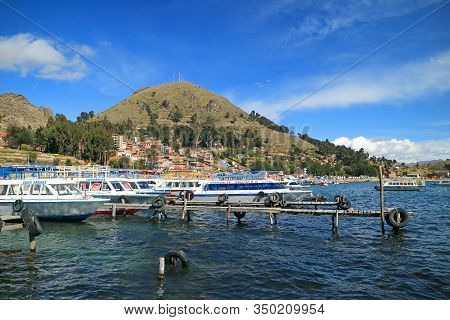 Port Of Copacabana With Tourist Boats On The Lake Titicaca In Bolivia, South America, 28th April 201