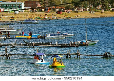 Activities On The Lake Titicaca In Copacabana, Bolivia, South America, 28th April 2018