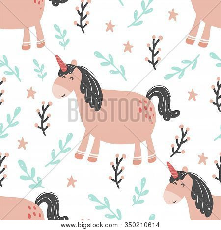 Unicorn Seamless Pattern Of Simple Trendy Cartoon Style. Unicorn, Magic Horse, Pony For Kids And Mag