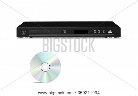 Dvd Player With Cd Disk Isolated On A White Background