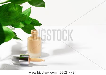 Cosmetic Product For Make-up. Unbranded Liquid Foundation Cream Bottle With Pipette. Facial Skin Cor