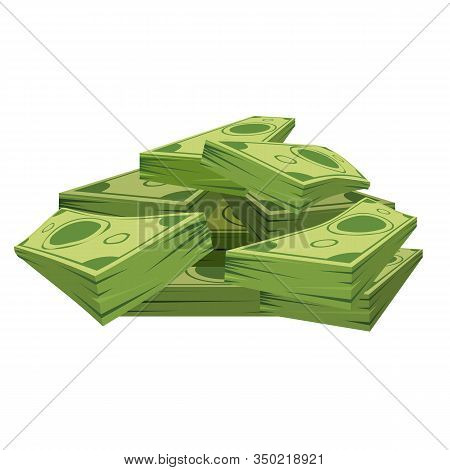 Stack Of Pile Of Dollars Money With Perspective View. Flat And Solid Color Cartoon Style Vector Illu
