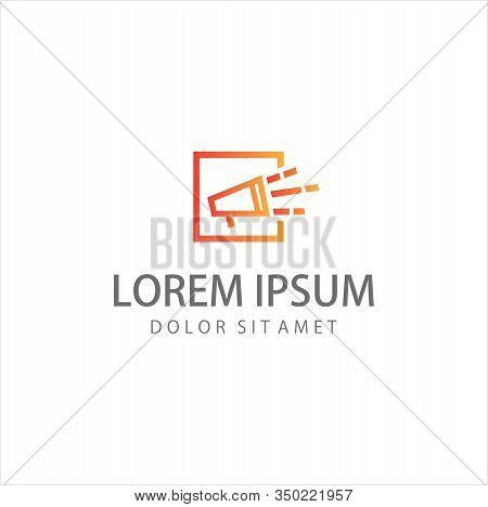 Loud Logo . Speaker Loud Music Education Logo Line Style Template