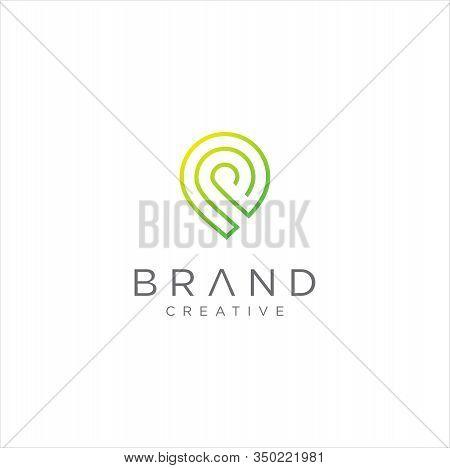 Letter P Place Location Linear Logo Stock Vector . Letter P Map Logo Line Designs Inspiration .