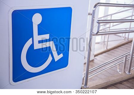 Access Ramp Sign For Wheelchair Ramp, An Inclined Plane Installed In Addition To Or Instead Of Stair