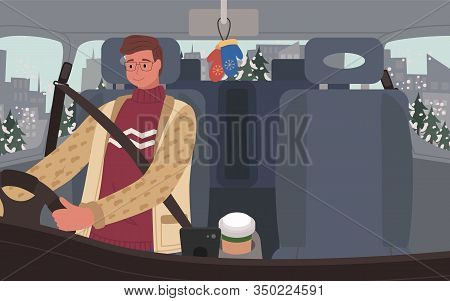 Man Drive Car On Road Through Forest. Interior Of Vehicle Salon, Cabin. Driver Ride Automobile Caref