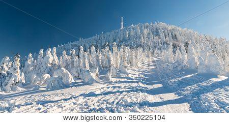 Lysa Hora Hill In Moravskoslezske Beskydy Mountains In Czech Republic During Freezing Winter Day Wit