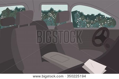 Black Cars Interiors, Vehicles Inside Views. Empty Automobile Salon. Car Cabin Elements Like Seat Fo