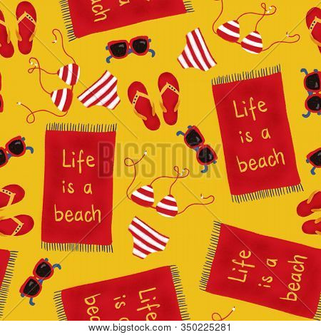 Beach Items Seamless Pattern. Repeating Background With Swimwear, Beach Towel, Sunglasses , Flip Flo