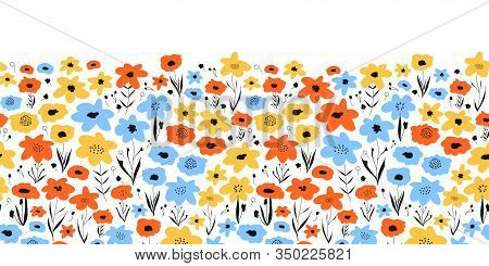 Ditsy Flower Field Seamless Vector Border. Blue Orange Yellow Black Floral Background. Repeating Flo