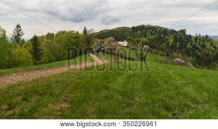 Springtime On Filipka In Slezske Beskydy Mountains In Czech Republic With Meadow, Trail, Few Houses,