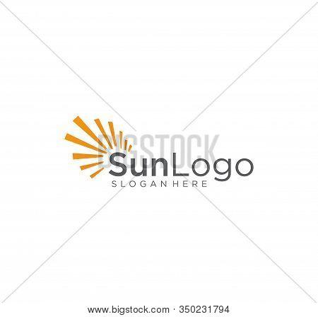 Sun Logo Element Vector Icon . Creative Abstract Shape Orange Color Sun Logo . Sunset Logo . Sunrise
