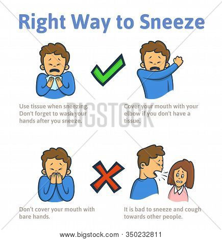 Right Ways Of Sneezing And Coughing. Info Poster With Cartoon Characters. Flat Vector Illustration.