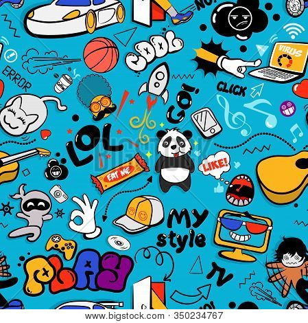 Youth Funny Cool Modern Seamless Pattern.