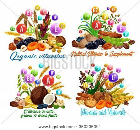 Vitamins In Dried Fruits, Nuts, Cereal Grains And Beans Vector Design. Raisins, Dates And Figs, Haze