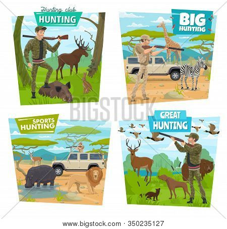 Hunting Sport And Safari Vector Icons With Hunters, Guns And Animals. Huntsmen Hunting With Dog, Rif